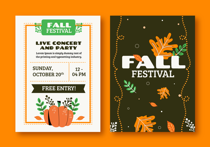 10月秋季節宣傳冊邀請模板向量圖素材免費下載
