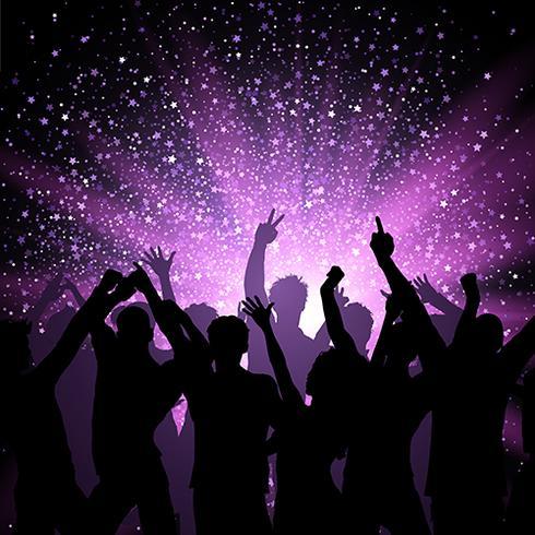 在紫色的星星上聚會的人羣圖片素材免費下載