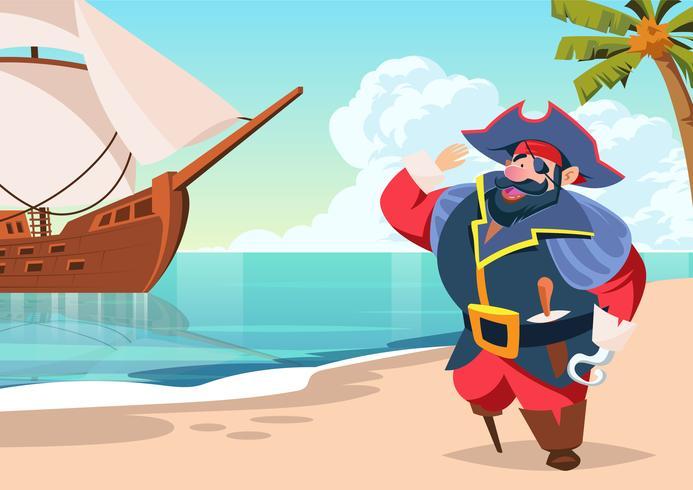 島の海賊船員パターン素材無料ダウンロード