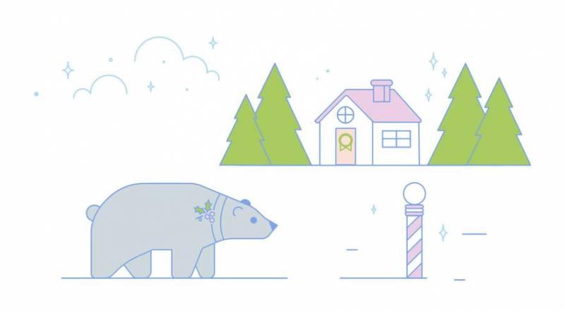 北極熊聖誕節插圖素材下載