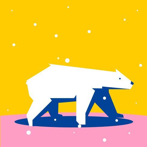 北極熊幾何形狀簡單動物圖案下載