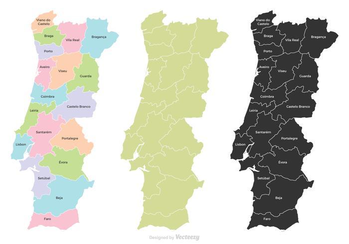 葡萄牙地區地圖卡通下載,向量圖形下載