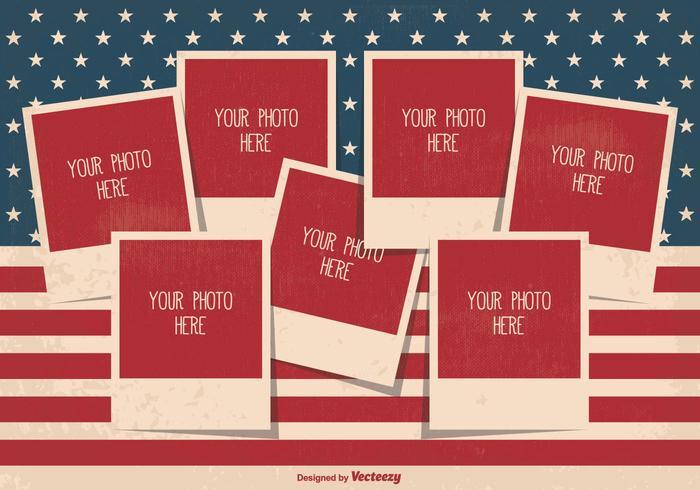 復古風格獨立日照片拼貼模板圖片素材下載