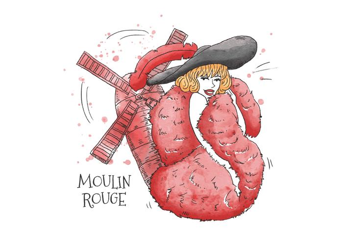 性感的卡巴萊女人穿着紅色羽毛披肩和黑色帽子前面的紅磨坊巴黎圖片素材包下載