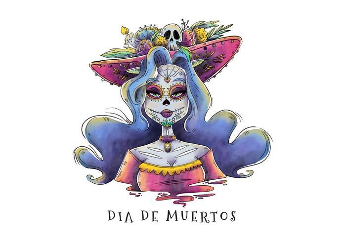 性感的卡特麗娜角色與彎曲的長髮diadelosmuertos圖片素材免費下載