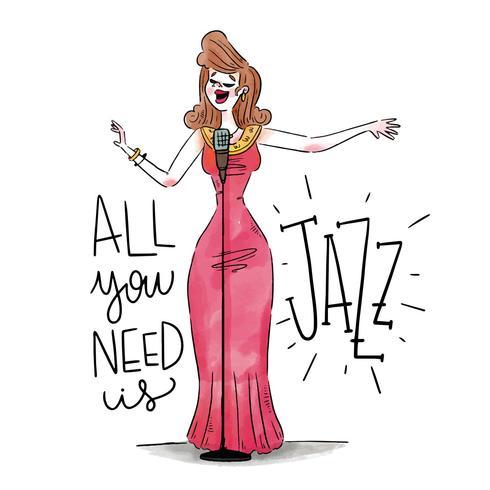 性感爵士女歌手身穿紅色禮服,帶着麥克風圖片素材免費下載