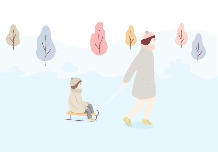 雪橇字符插畫素材包下載