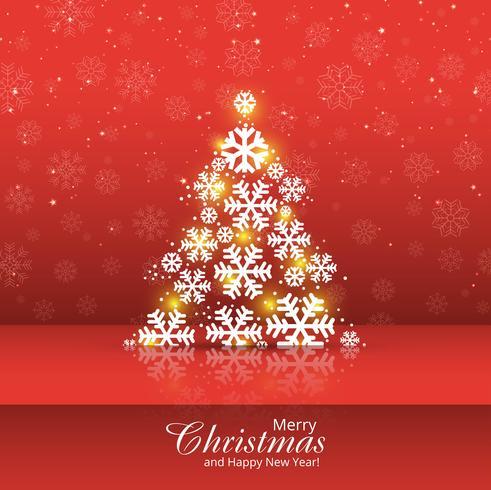 スノーフレークツリーメリークリスマスカードデザイン可愛い イラスト