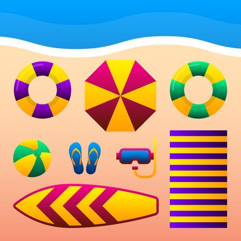 在沙灘上放暑假飾品。插畫素材下載