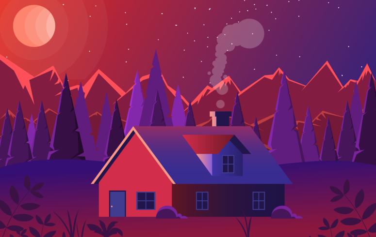 赤の風景イラスト 素材ダウンロード