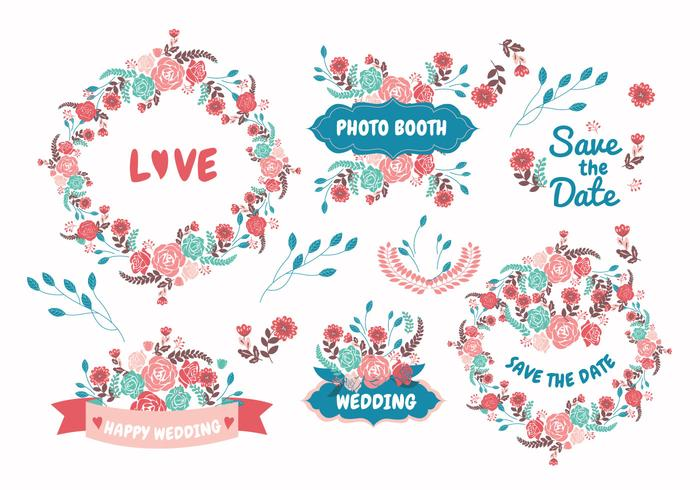結婚式の要素の花パターン素材無料ダウンロード