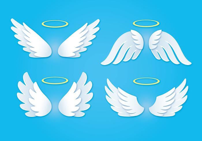黄金のハローと白い天使の羽イラスト素材無料ダウンロード完全無料の