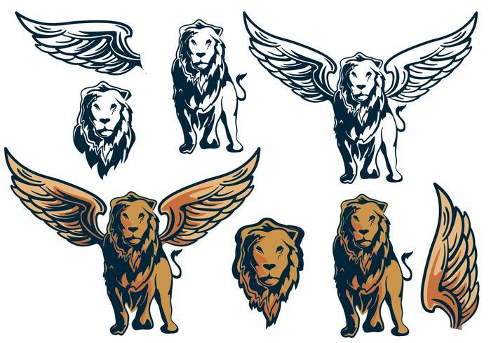 翼のあるライオンキング要素写真 イラストダウンロード 精巧なpattern