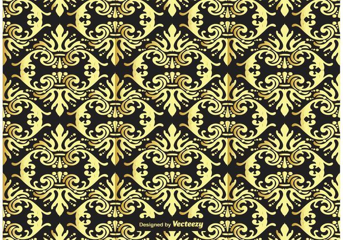 金と黒のダマスク素材 イラストダウンロード Illustrator用素材 背景