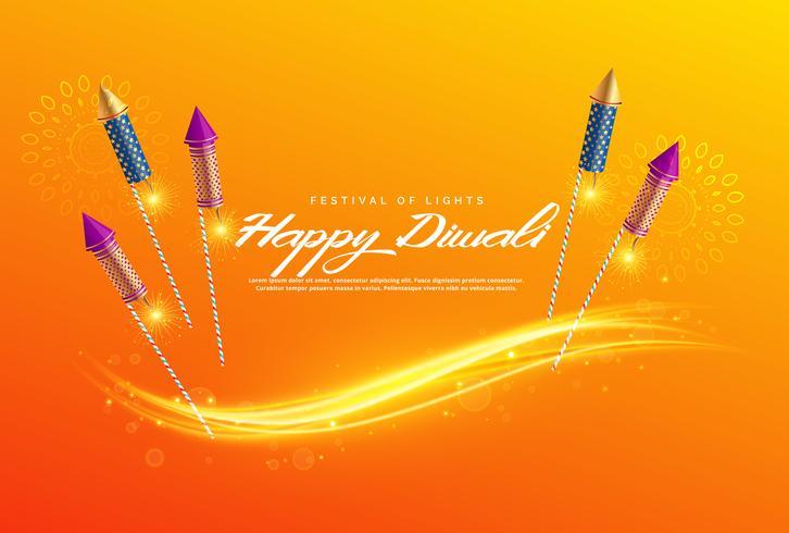 花火と美しいディワリ祭りの挨拶パターン素材ダウンロード