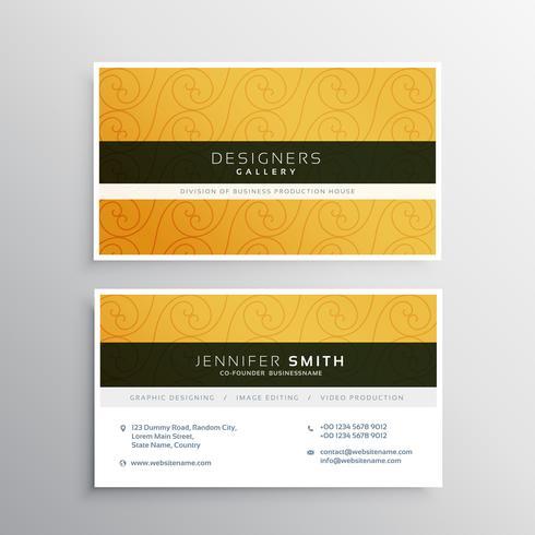 エレガントな黄色の名刺デザインをきれいにパターン素材ダウンロード