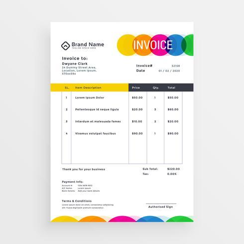 カラフルなインボイステンプレートデザインパターン素材集ダウンロード