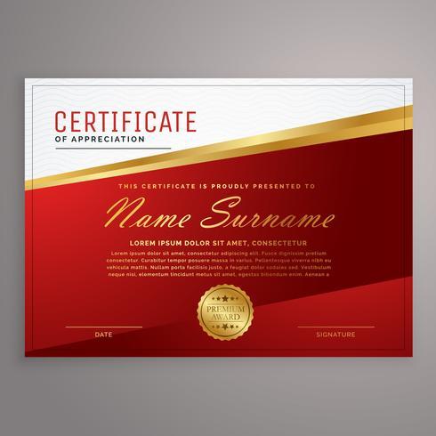 創造的な赤と黄金の証明書のデザインテンプレートパターン素材集ダウンロード