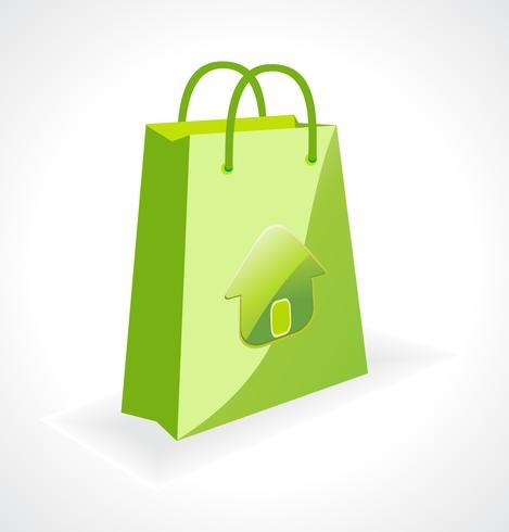 エコロジーシンボル入りグリーンバッグパターンダウンロード