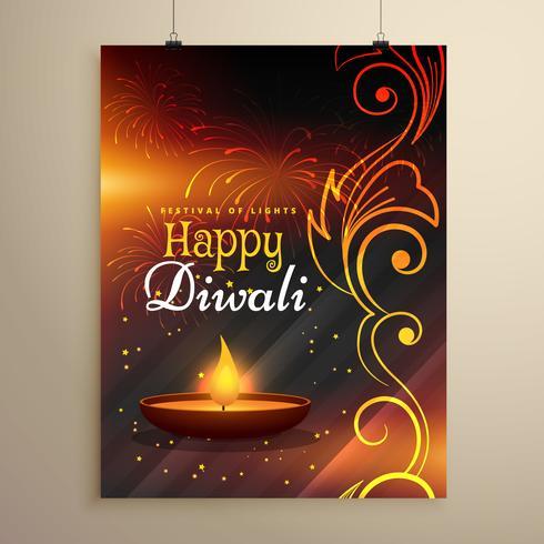 快樂的排燈節祝願傳單設計與diya和花卉裝飾圖片免費下載