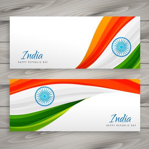 印度國旗橫幅卡設計插畫素材免費下載