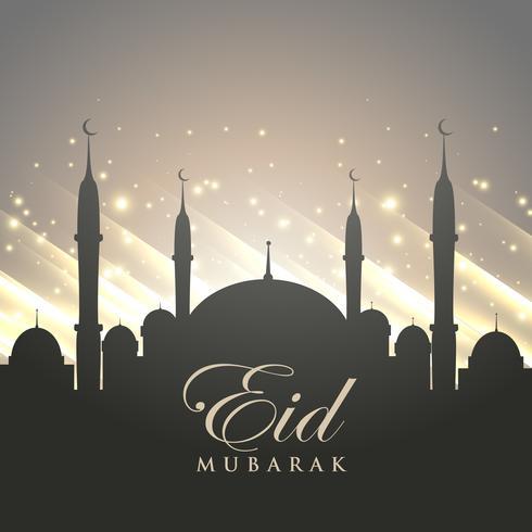 伊斯蘭教的開齋節問候與清真寺剪影和閃亮的b圖片下載