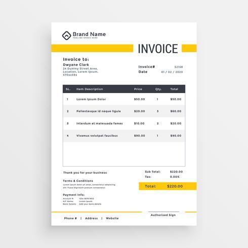 最小の黄色い請求書テンプレートのデザインfree イラストダウンロード