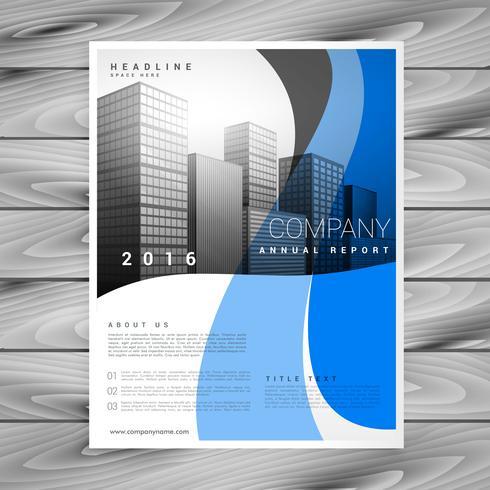 近代的なブルーウェーブ会社のビジネス-パンフレットテンプレートパターン素材無料ダウンロード