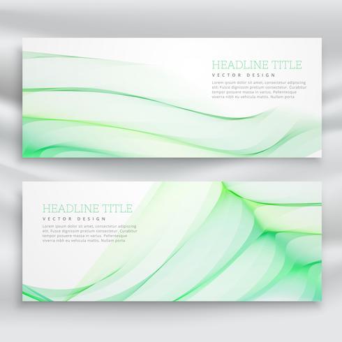 橫幅與波浪綠色設計模板圖片素材下載