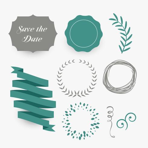 結婚式のデザインのための花ラベルリボンのセット商業用結婚式の